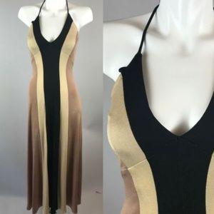 Dresses & Skirts - Vtg 70s Colorblock Halter Tan Black Maxi Dress
